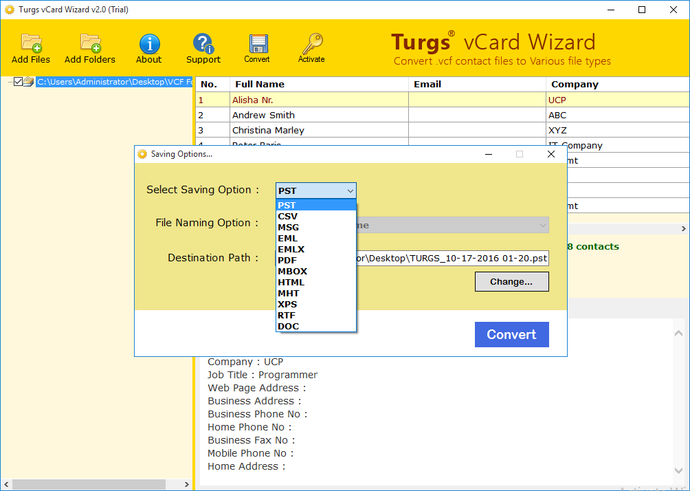 vCard to PST Converter - A Free Tool to Convert vCard to PST